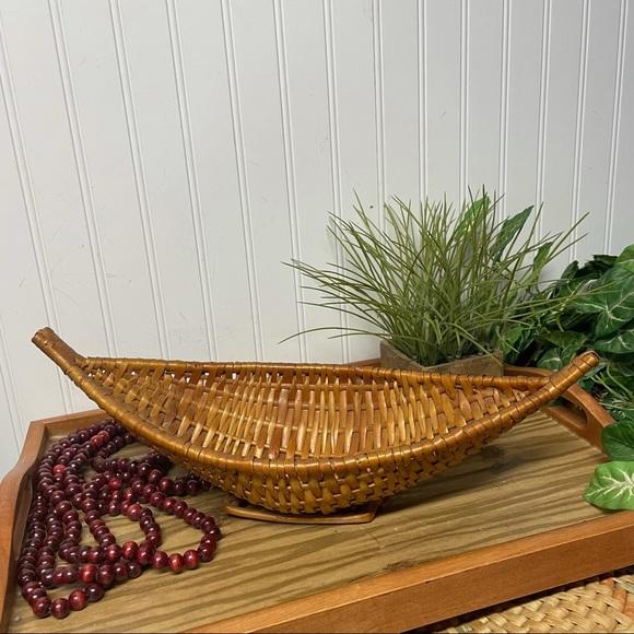 Vintage Wicker Rattan Woven Boat Basket